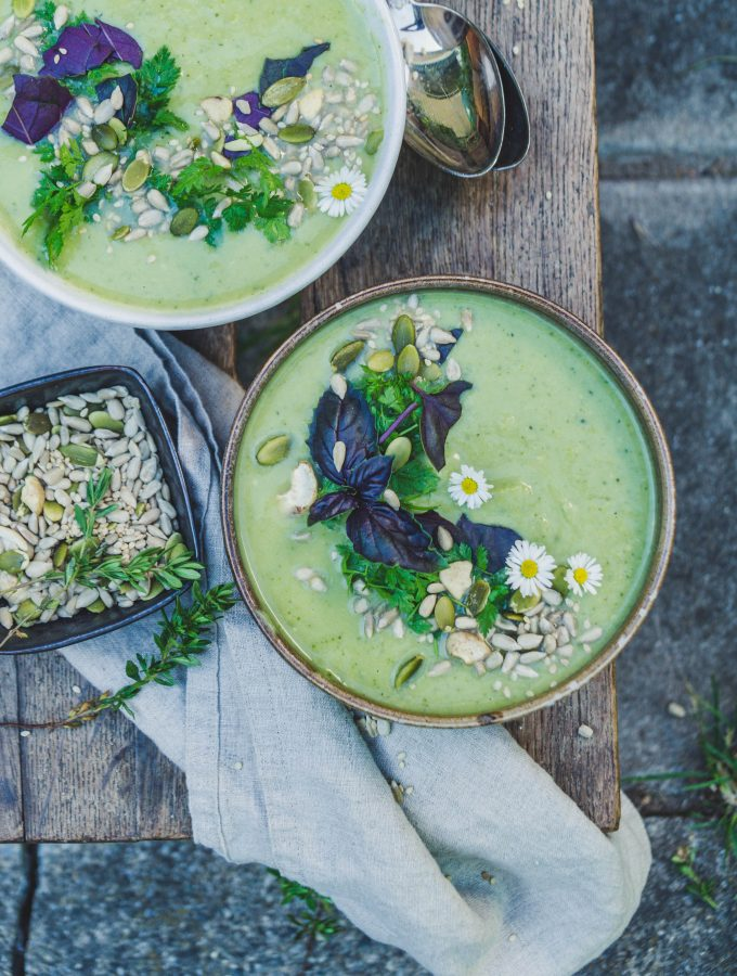 Broccoli and Green Pea soup with crunchy topping