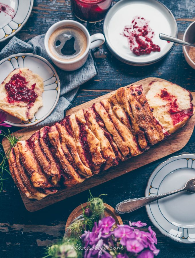 Raspberry pull apart bread with cinnamon dust