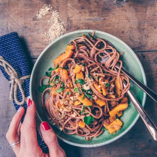 Red Wine Pasta with Pumpkin Walnut Sauce