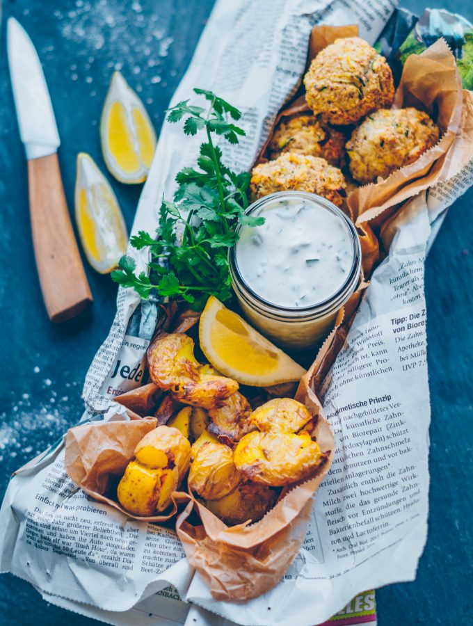 Cauliflower falafel with smashed Potatoes