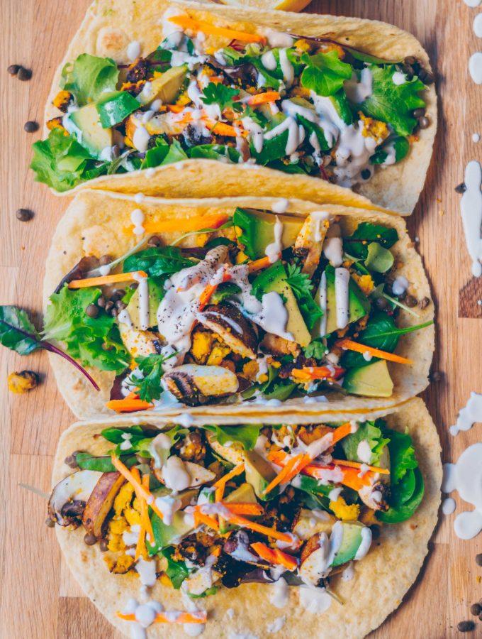 Vegane Frühstücks Tacos mit Tofu Rührei