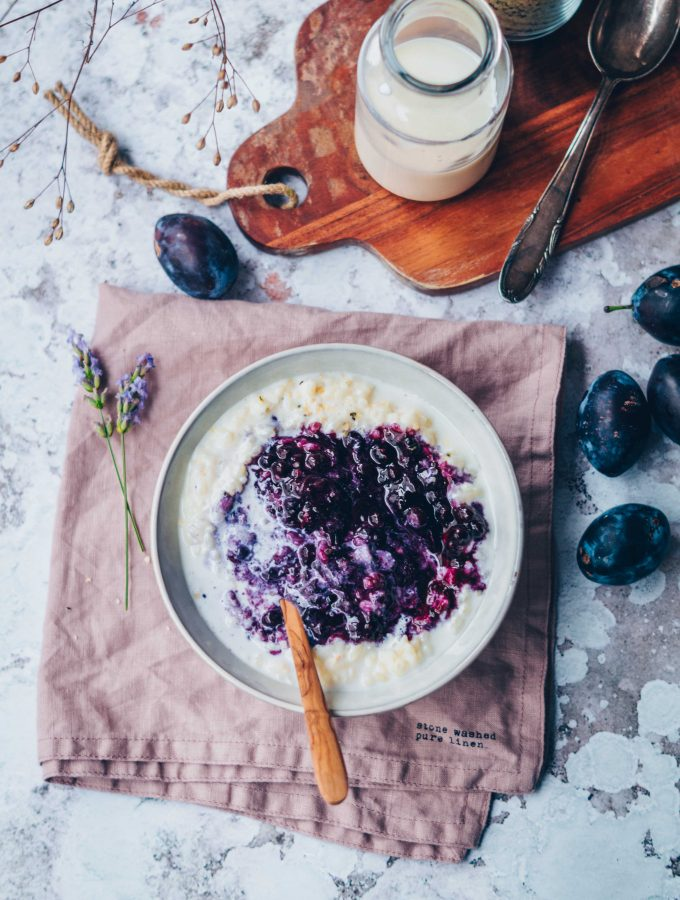 Vanilla Rice Pudding with Lavender Blueberry Compote (v)