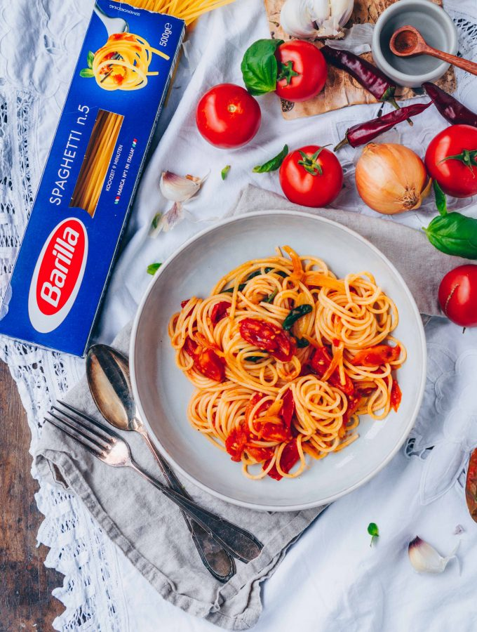 #worldpastaday Spaghetti Pomodoro mit Barilla (Werbung)