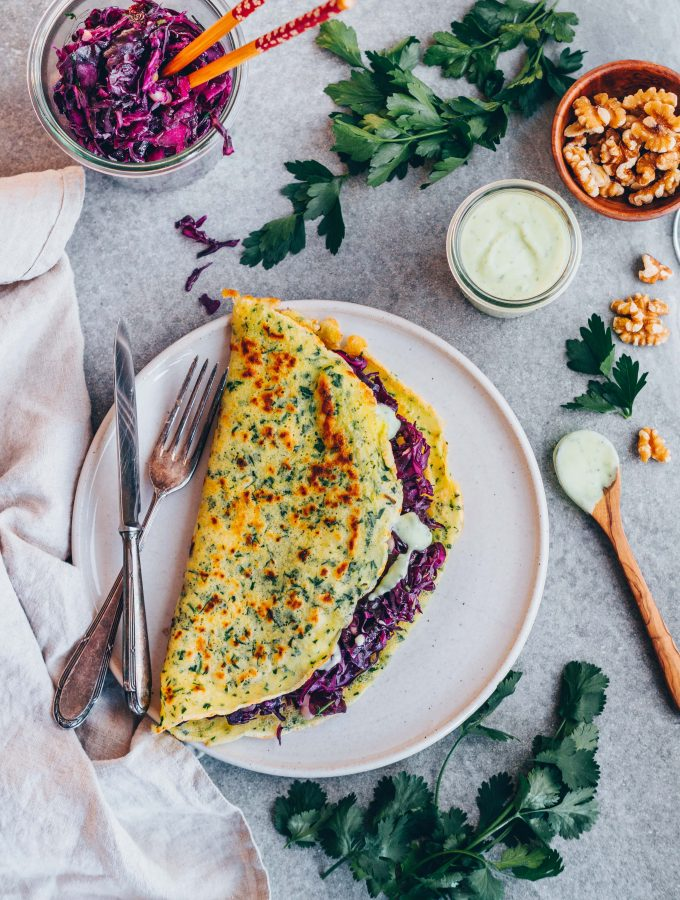 Herb Crepes with red cabbage filling