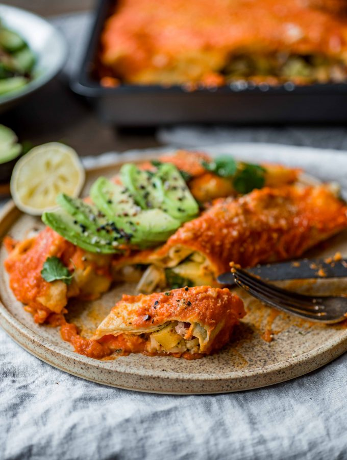 Corn Enchiladas with vegetable filling