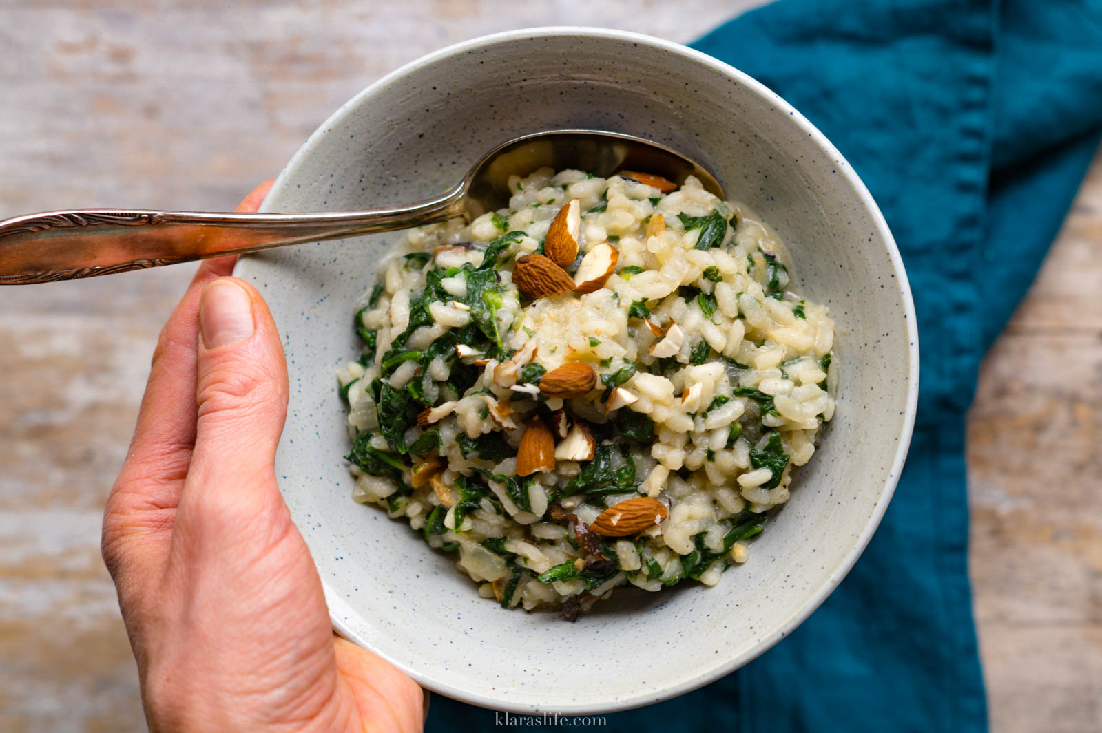 Spinat-Pilz-Risotto