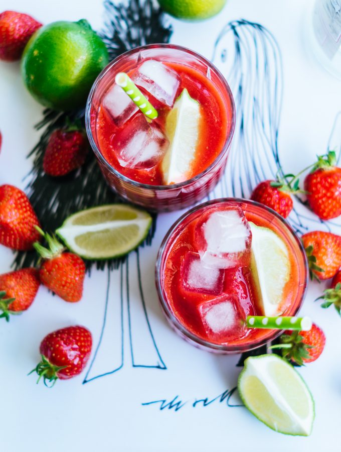 Erdbeer Wassermelonen Slush mit Limone & Rum