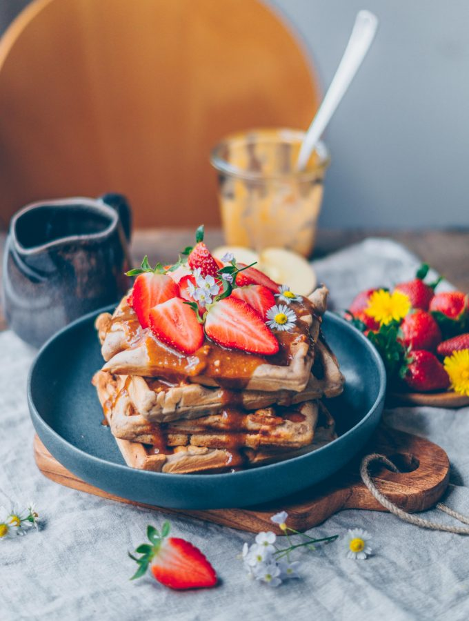 Buckwheat apple Waffles with caramel sauce