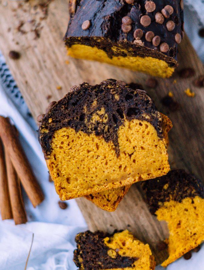Schokoladen Kürbis Kuchen   saftiger Marmorkuchen