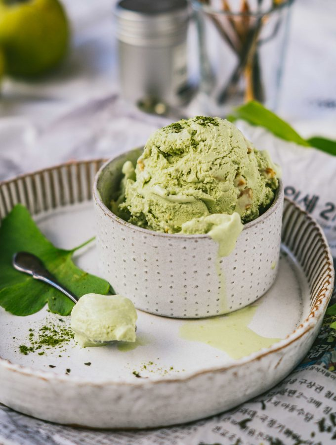Matcha Ice cream with Caramel Chunks