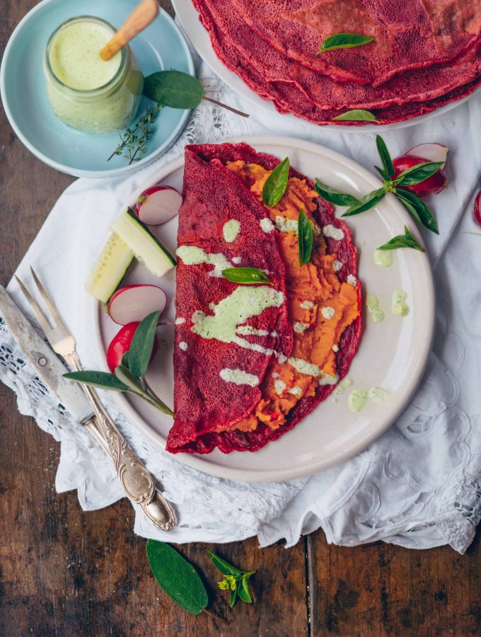 Beetroot Crepes with Pumpkin Filling