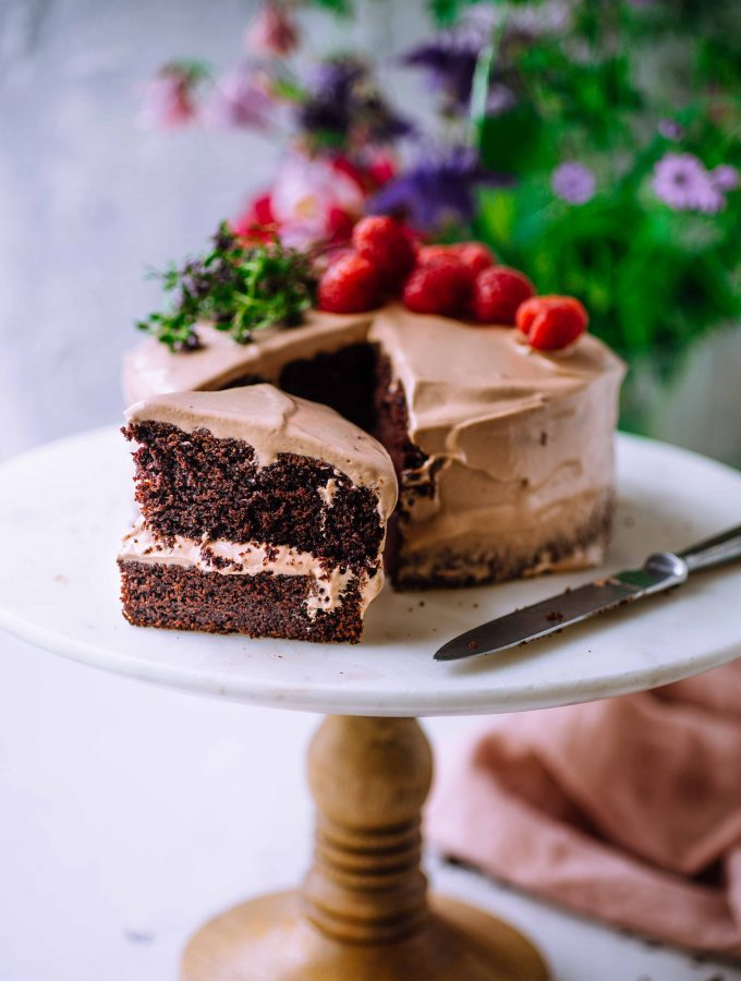 vegan Chocolate Cake with creamy Chocolate Frosting