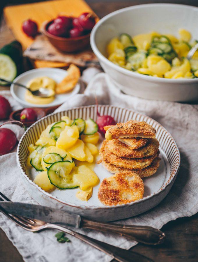 Kohlrabi Steak with potato salad