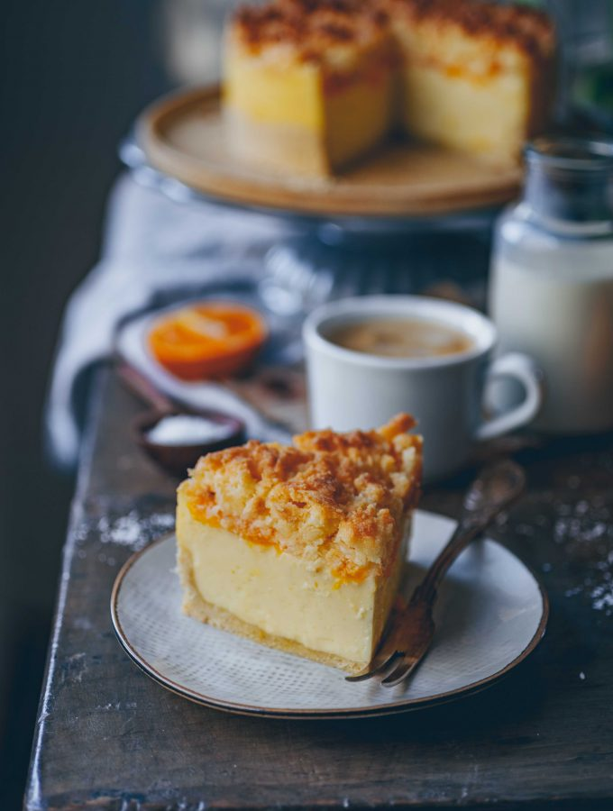 Tangerine Sour Cream Cake with coconut crumbles