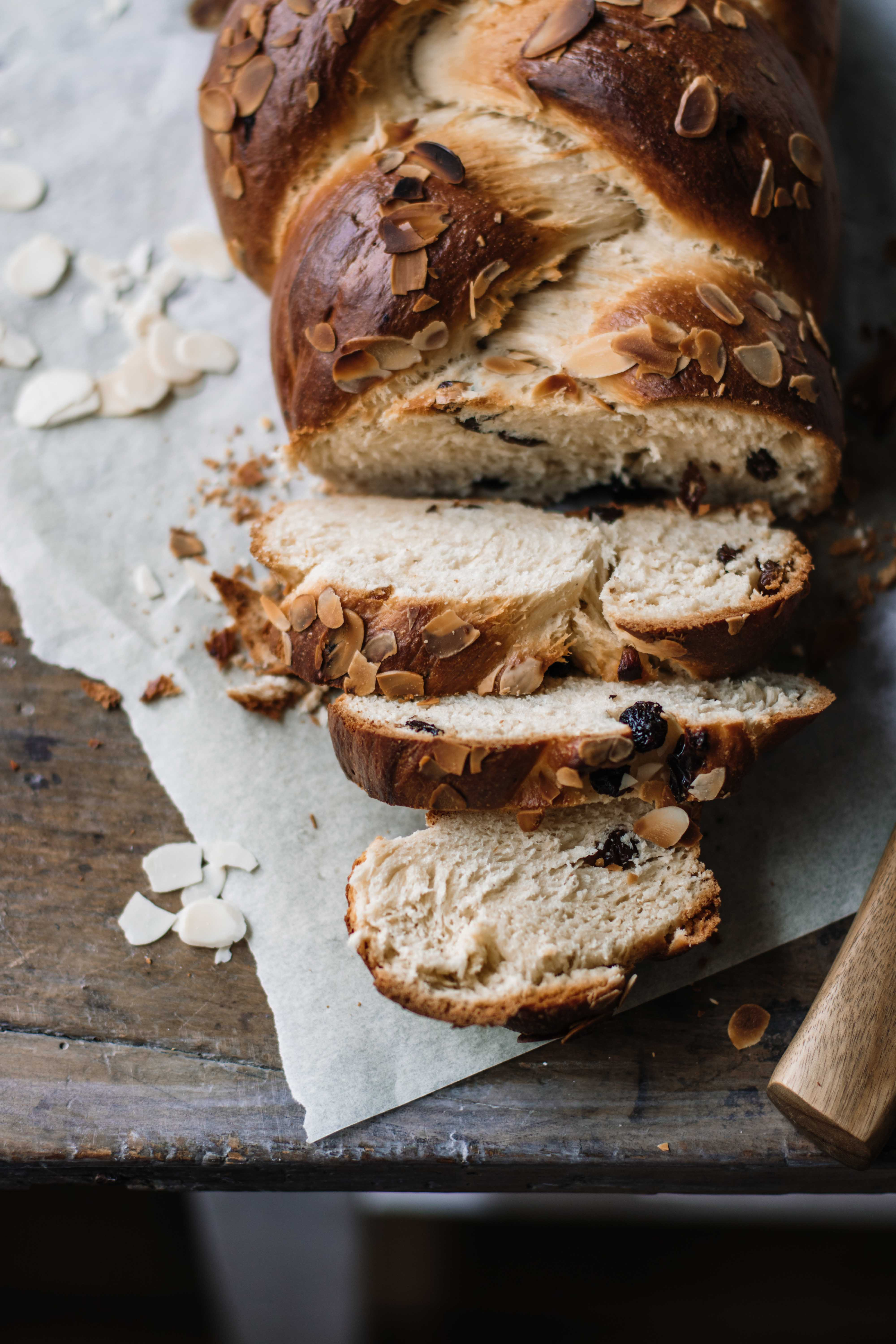 Challah Bread Recipe With Raisins And Sliced Almonds Klara S Life