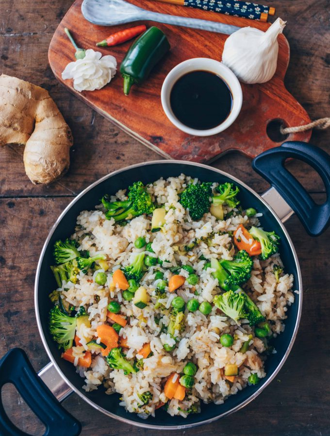 Gebratener Reis mit Gemüse (30 Minuten Rezept)