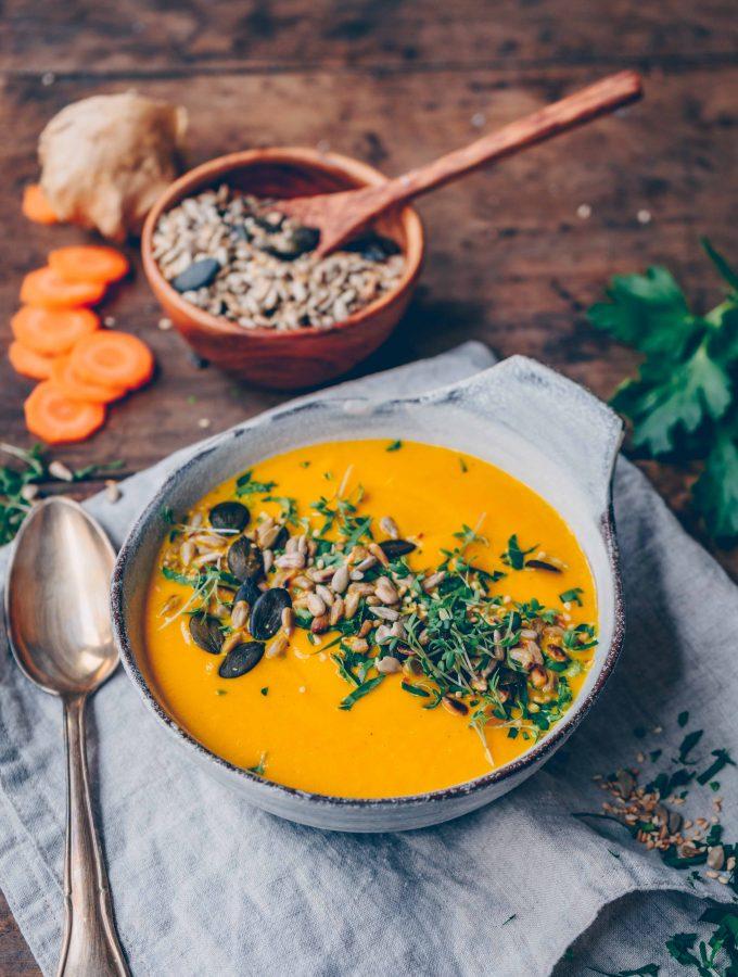 Karotten-Ingwer-Suppe. Cremig und scharf