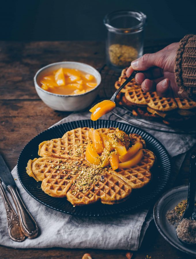 Marzipan Waffles with apricot compote
