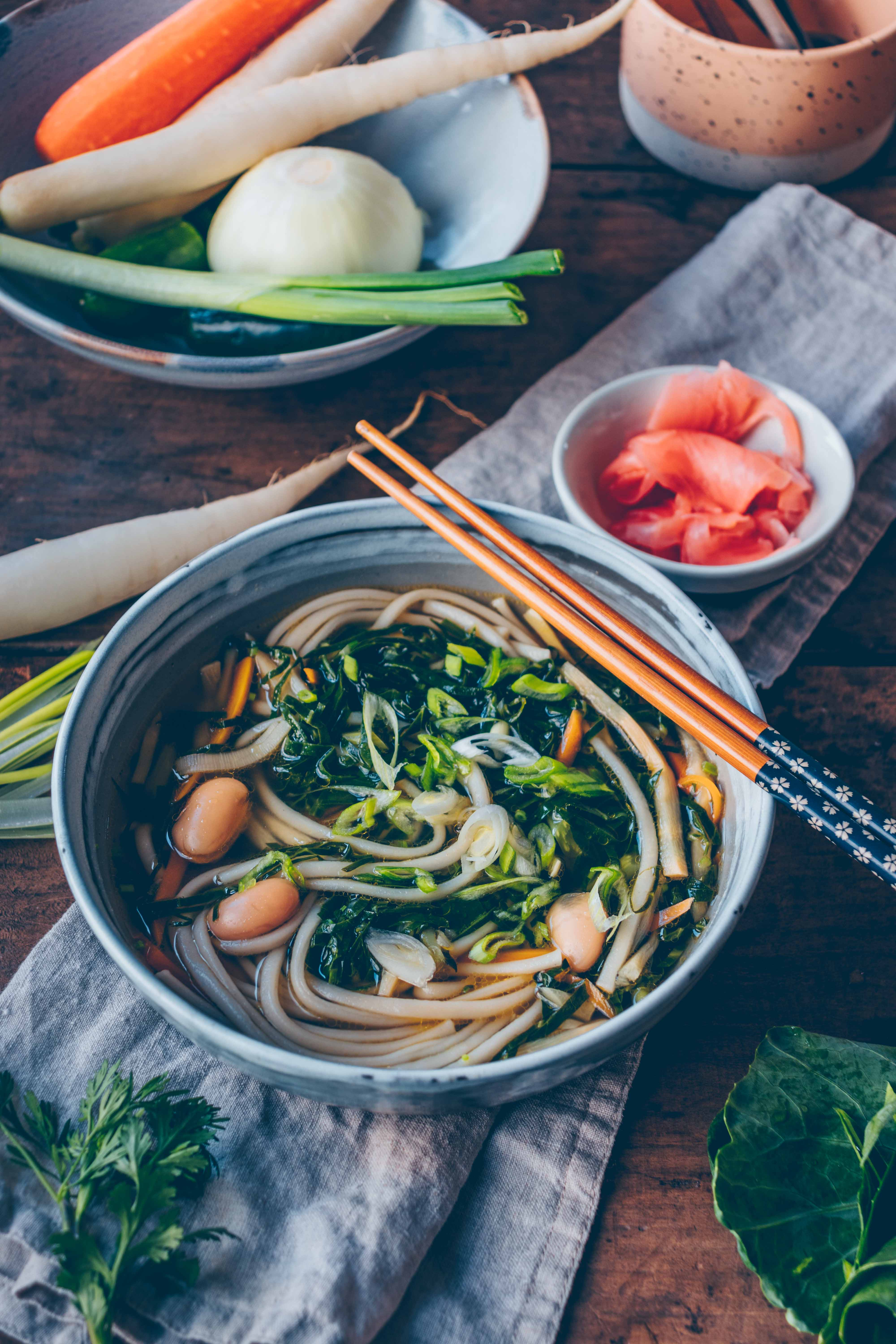 Miso Soup With Udon Noodles And Pickled Japanese Ginger Klara S Life