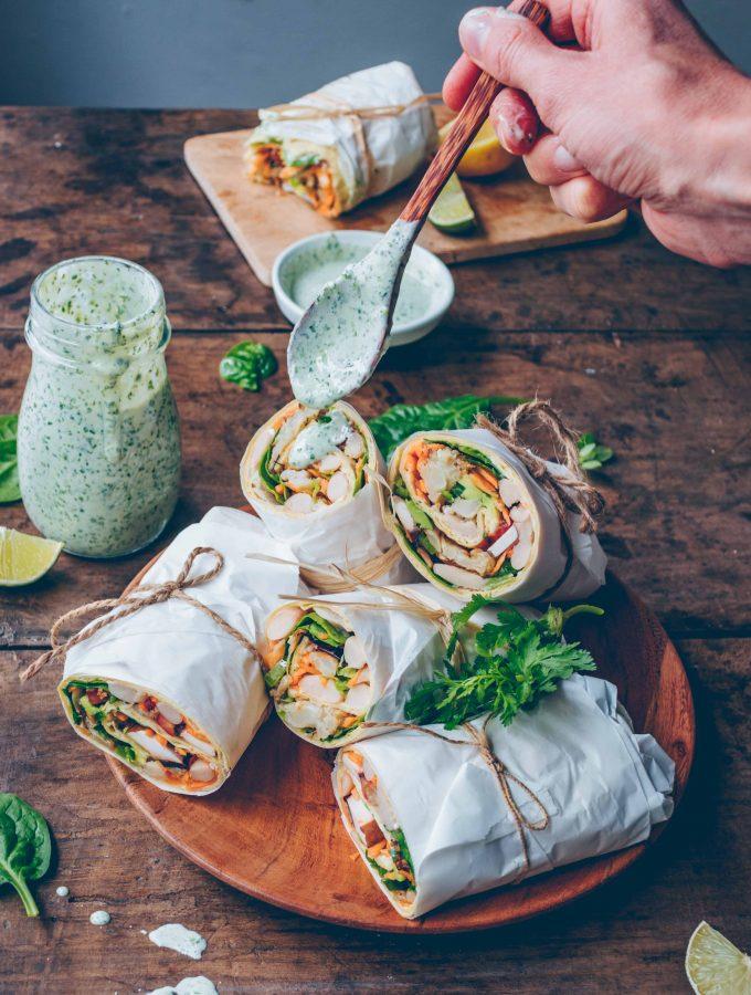 Gemüse Wraps mit Koriandersauce | saftig, vegan & einfach