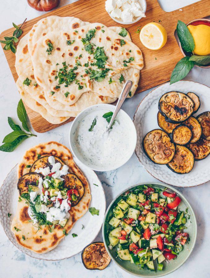 Auberginen – Pita mit Tsatsiki | vegan & mediterran