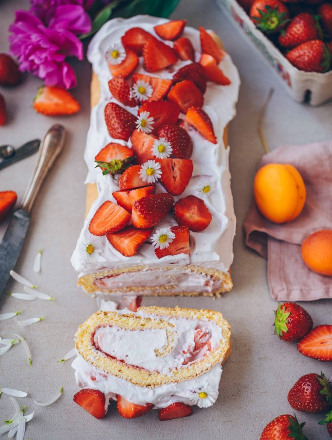 Strawberry Cake Roll with creamy strawberry cream filling