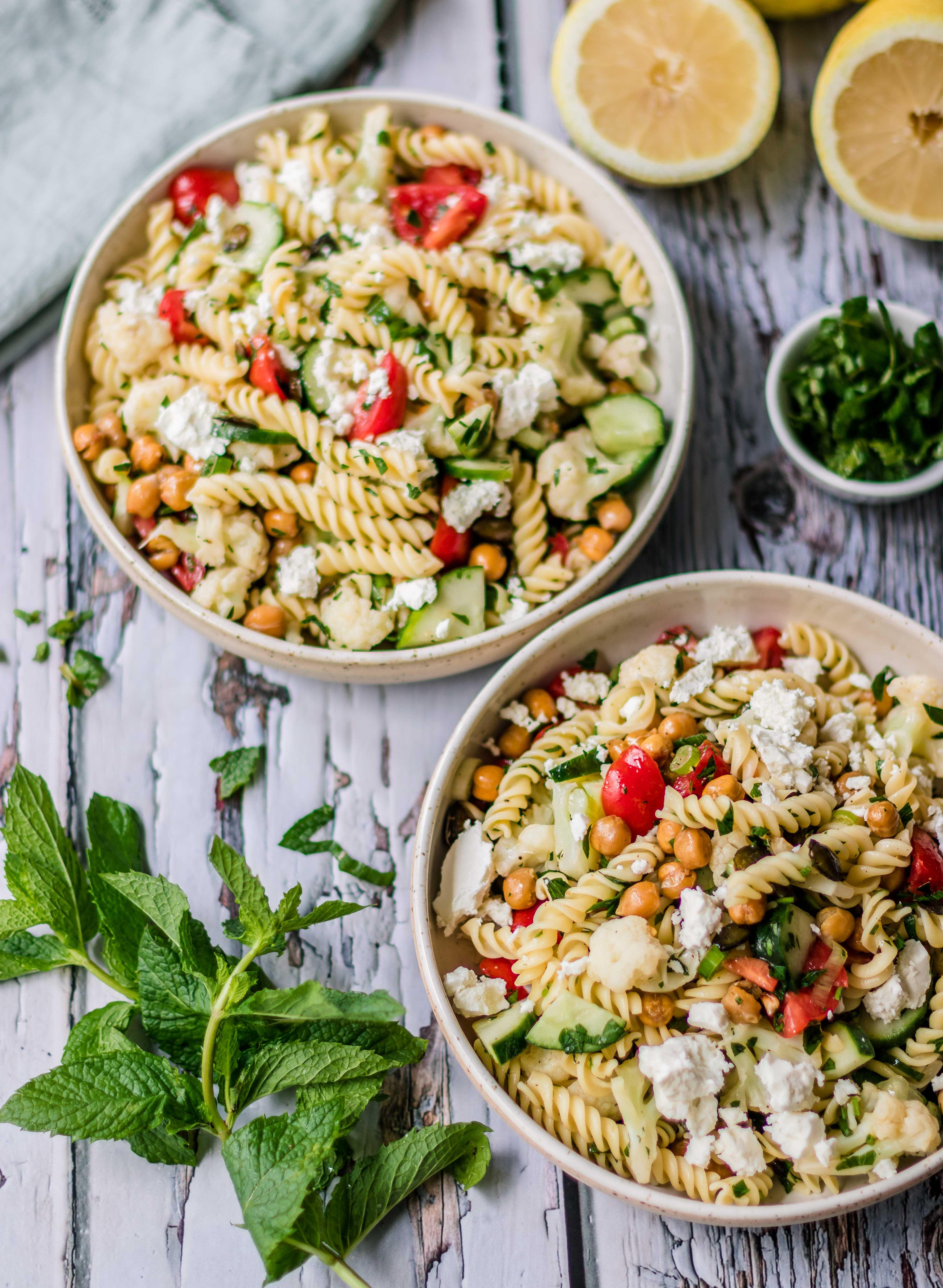 Easy pasta chickpea salad