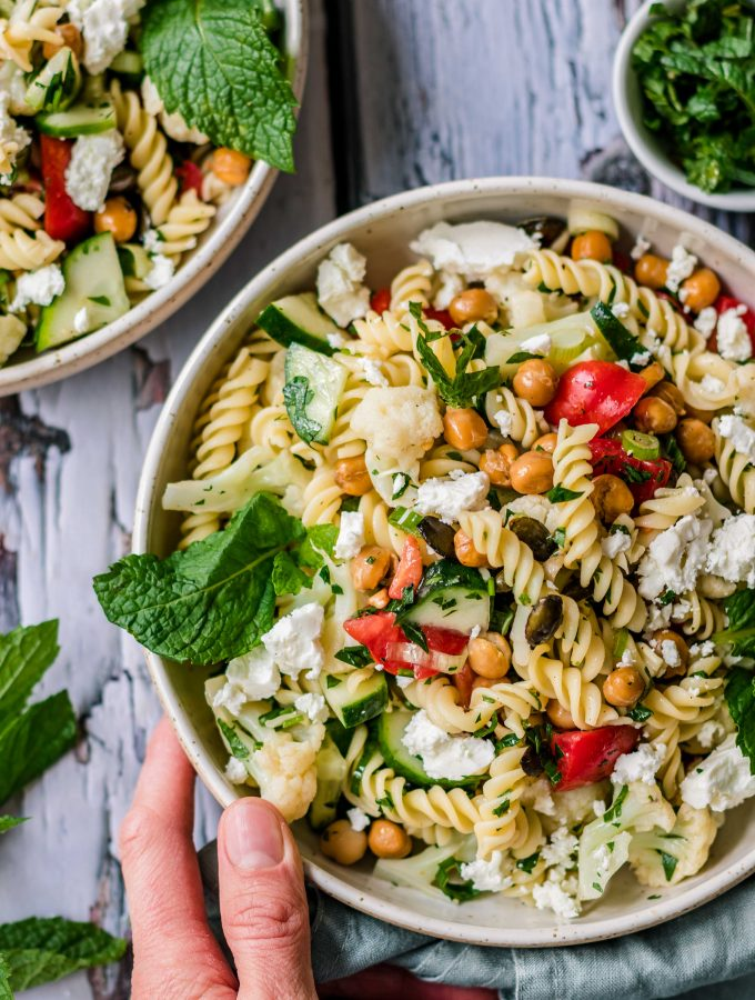 Easy pasta chickpea salad with mint and feta