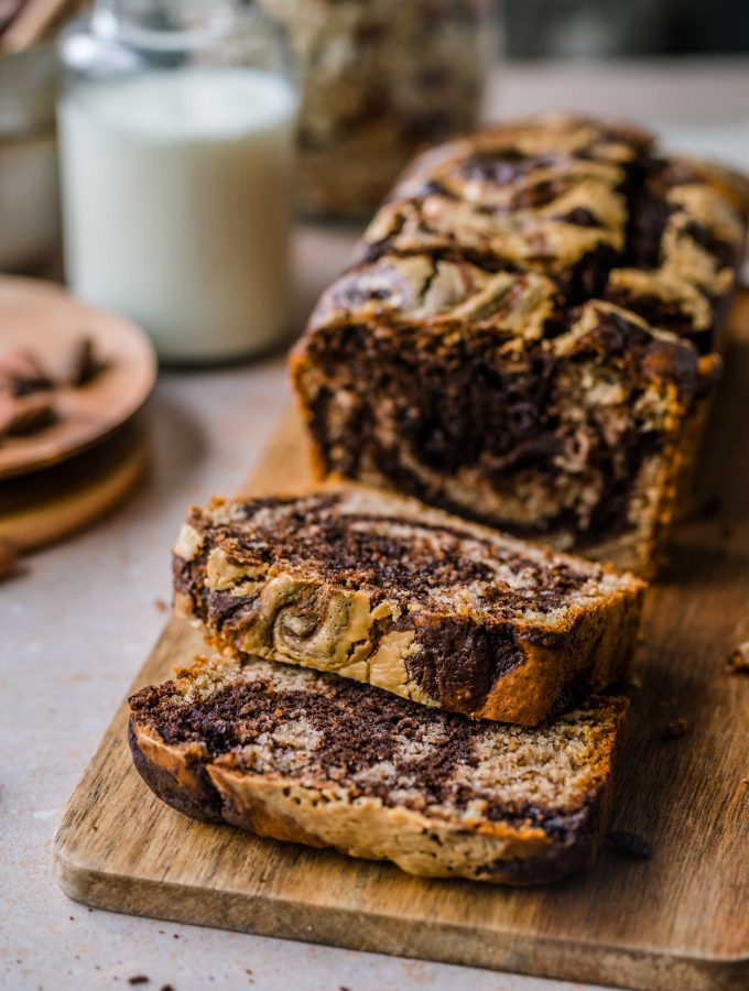 Marbled Banana Bread with peanut butter swirl