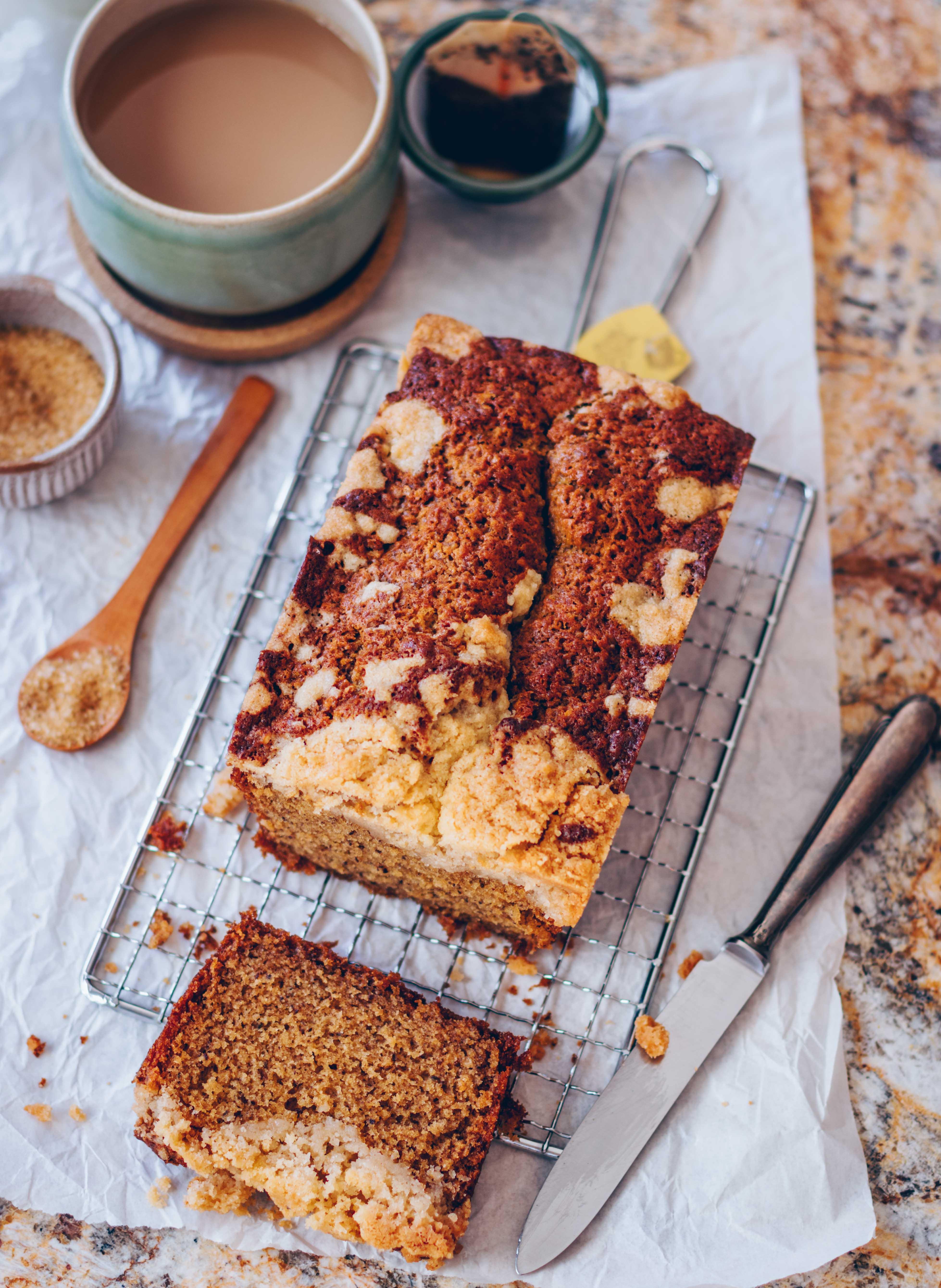 Earl Grey Kuchen mit Zimt-Streuseln