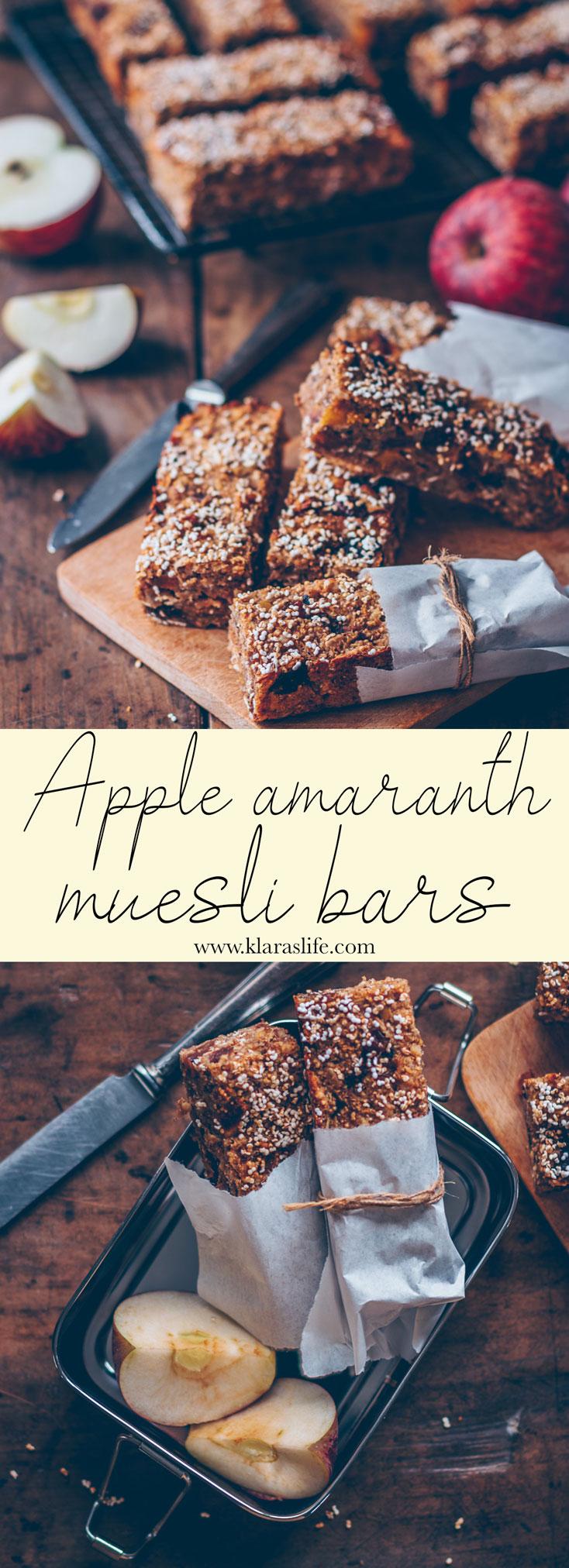 Apple Amaranth Muesli Bars Vegan Healthy Snack Klara S Life