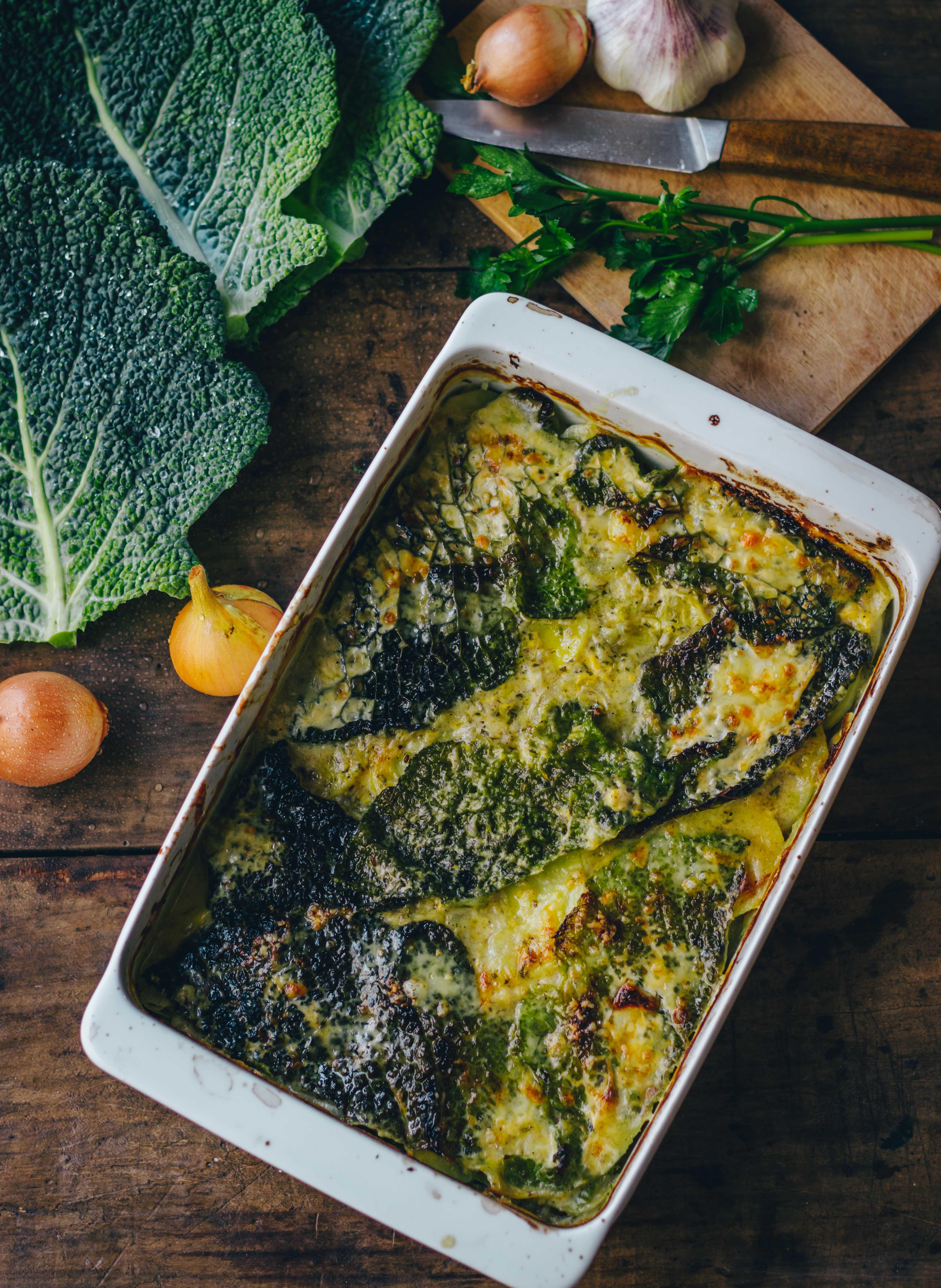Savoy cabbage casserole