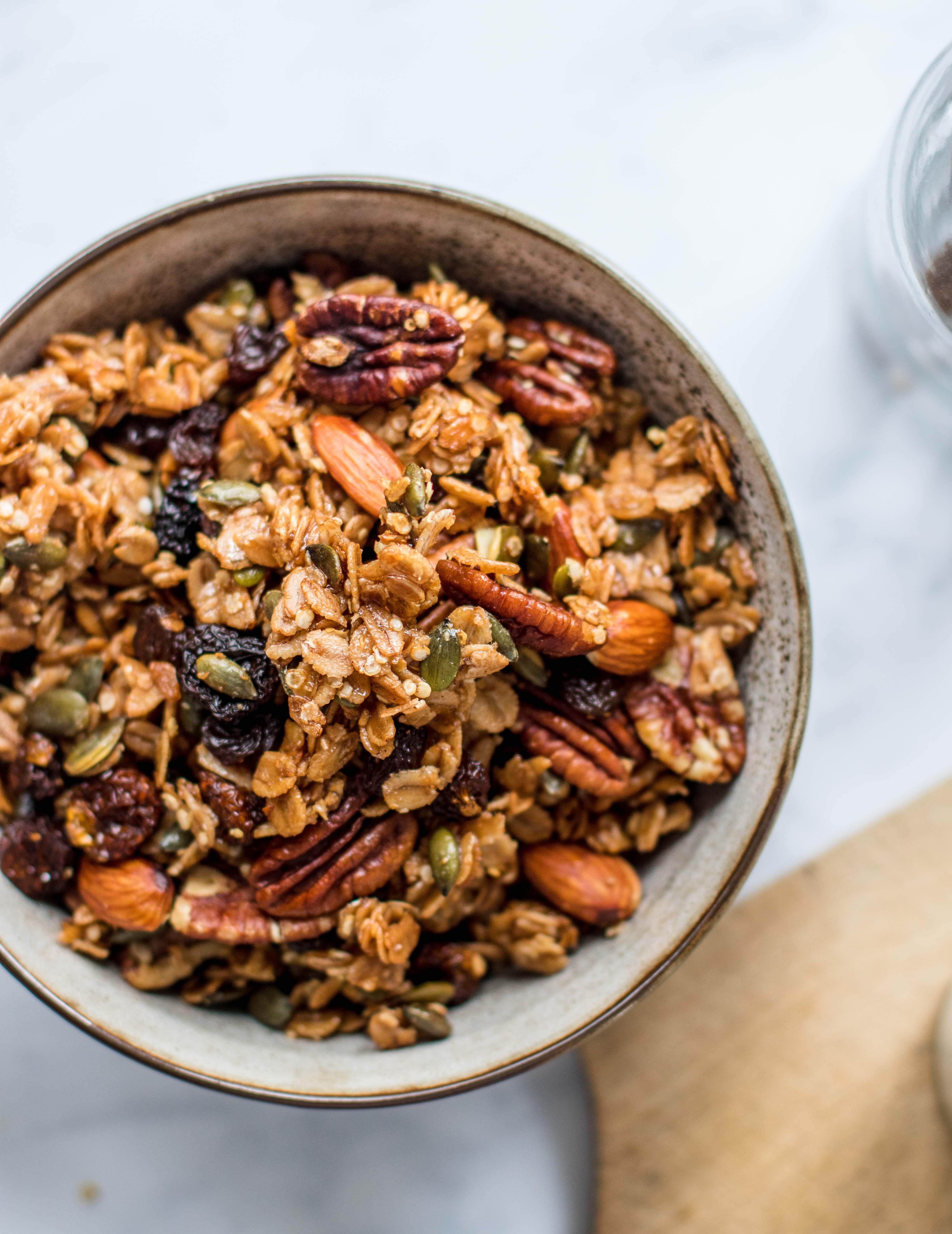 Homemade Nut Granola With Pecans And Quinoa Flakes Klara S Life