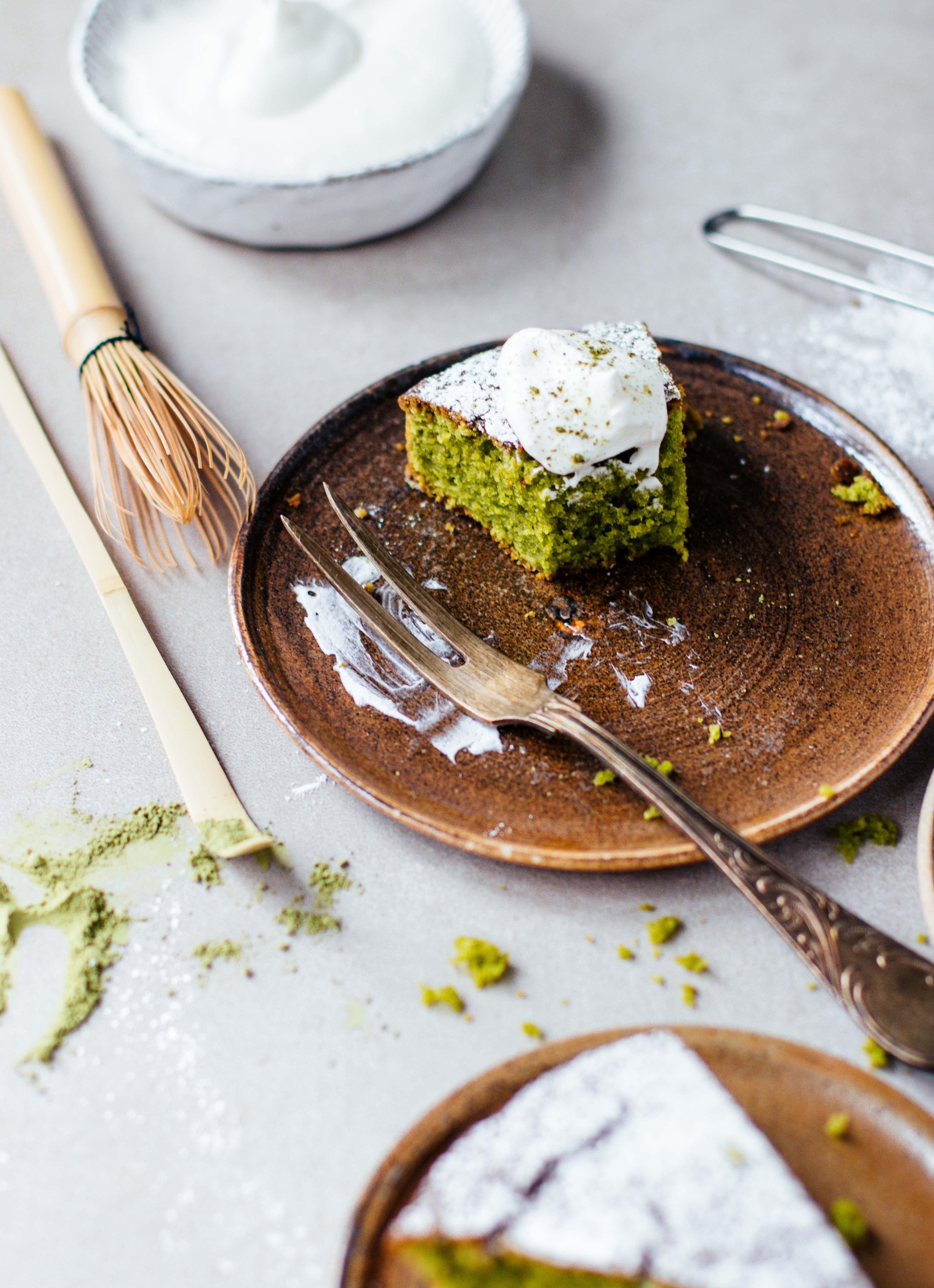 Matcha- Mandel- Kuchen