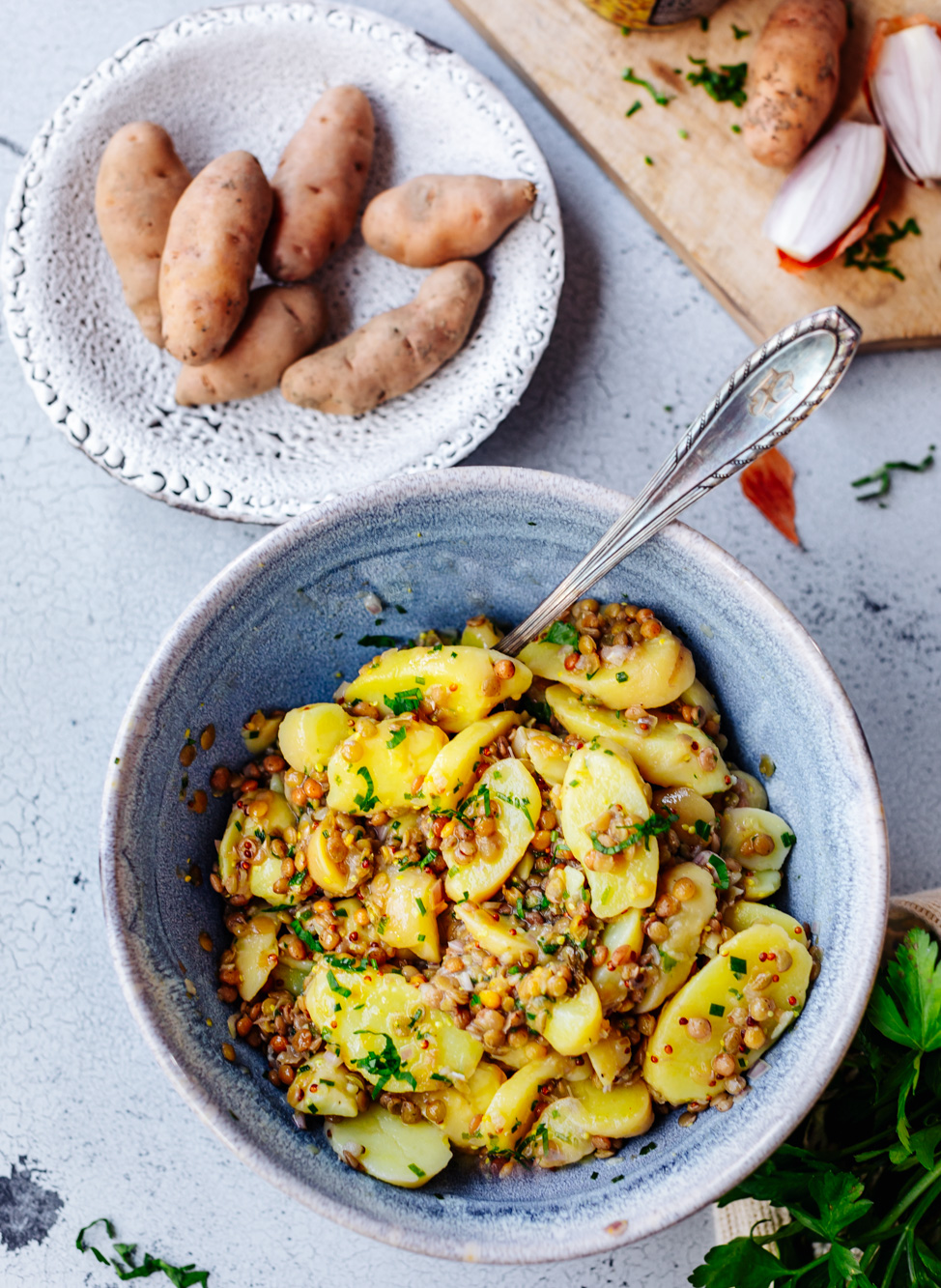Kartoffelsalat mit Linsen
