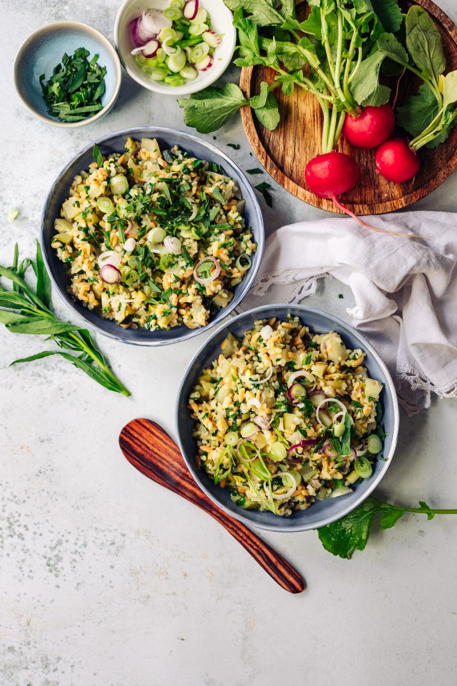 Roter Linsen Risoni Salat
